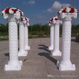 wedding props plastic roman column UK - 100CM Wedding Decor Roman Column with Flower Stand Wedding Props Plastic White Pillars Party Events Road Welcome Supplies