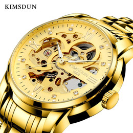 luminous kimsdun watch 2021 - KIMSDUN Men's Fashion Casual Business Automatic Mechanical Watch Hollow Sports Cool Stainless Steel Gold Strap Relo
