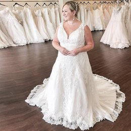 dropped wedding dresses NZ - High Quality White Ivory Plus Size Wedding Dress V-neck Sleeveless A-line Bridal Gown Vintage Appliques Chapel Train Vestido De Novia Custom