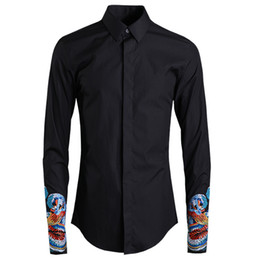 mens casual slim dragon NZ - Men Shirt Luxury Chinese Style Embroidered Sleeves Shirt Mens Chinese Dragon Mens Shirts Casual Slim Fit Camisa Masculina