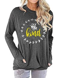 Wholesale kind print shirt online – design Bee Kind Shirts Women Letter Printed Hoodie Honey Round Neck Long Sleeve Soft Comfy Tops Shirt LJJO7401