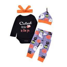 $enCountryForm.capitalKeyWord Australia - New Hallowmas baby suits baby clothes outfits 4pcs set romper+harem pants+hat+ headband baby infant boy designer clothes A7043
