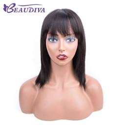 Discount making wigs - Natural color straight human hair Wigs With Bangs Mathcine Made Brazilian Virgin Hair Human Hair Wigs For Women Beau Div