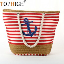 $enCountryForm.capitalKeyWord Australia - TOPHIGH Summer Anchor Strips Printing Canvas Tote Bag Women's Navy Style Rope Travel Bag Straw Weave Shopping Beach Bag B534
