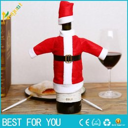 Kitchen Set For Home Australia - Hot Sale 2018 Christmas decoration Wine Bottle Cover Wine Hat Cover Set Kitchen Decor For Home Dinner Party New Santa Claus Gift