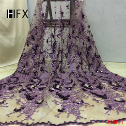 glitter tulle Australia - HFX African Lace Fabric 2019 Sequin Embroidery Net Lace Latest Wedding French Dress Lilac Glitter Tulle Lace Fabric X2017