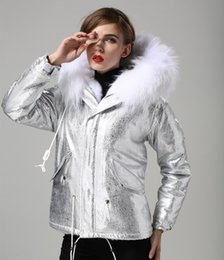 $enCountryForm.capitalKeyWord Australia - Female snow jackets white rabbit fur lining silver mini parkas Cold resistance parkas with white raccoon fur hoody