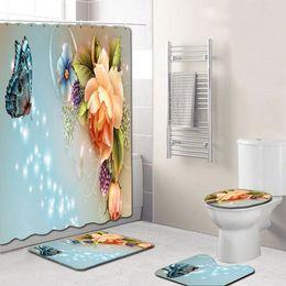 4Pcs set Elegant Flowers Pattern Shower Curtain Toilet Cover Mat Non-Slip Rug Set Bathroom Waterproof Bath Curtain with 12 Hooks on Sale