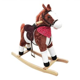 Horse riding gifts online shopping - Christmas Gifts Kids Plush Ride On Pony Rocking Horse Wooden