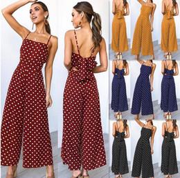 Chiffon Beach Trousers Australia - Women Summer Sexy Fashion Sleeveless Chiffon Jumpsuits Rompers Siamese Loose Polka Dot Trousers Suspender Pants Cropped Beach Apparel Cool