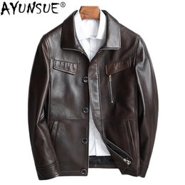 Korean Motorcycle Jacket NZ - AYUNSUE Genuine Leather Jacket Men Korean Sheepskin Coat Spring Motorcycle Jacket Leather Coats Men Chaqueta Cuero Hombre KJ1583