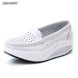 Breathable Cutout Shoes NZ - Designer Dress Shoes ZHENZHOU Pumps Woman Shoe Summer genuine leather cutout breathable swing white nurse wedges heighten mother