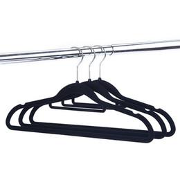Removing Clothes Australia - Thickening Flocking Coat Hangers Home Multi Function Couture Non Slip Clothes Racks Velvet Black High Grade 0 9hf Ww p