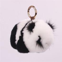 China Rex Rabbit Fur Panda Keychain Mink Panda Jewelry Plush Fur Bag Pendant Hanging Luxury Keychain Pom Pom Keychains Gifts for Men cheap panda keychains suppliers