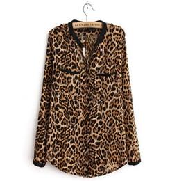 $enCountryForm.capitalKeyWord Australia - Fashion-Women Sexy Leopard long-sleeved V-Neck chiffon shirt Casual Blouse Tops Women's Clothing