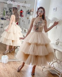 $enCountryForm.capitalKeyWord Australia - Champagne Tutu Skirt Prom Dresses Tiered Ruffles Embroidery Beaded Cocktail Evening Gowns Sexy Tea Length Homecoming Dress