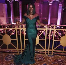 88cfcb4926c Hunter Green Mermaid Prom Dresses Cheap 2019 Elegant Evening Dresses Off  Shoulders Black Girls Party Gowns Bridal Party Bridesmaid Dress
