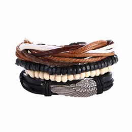 $enCountryForm.capitalKeyWord UK - Fatpig Unisex Vintage wings Alloy Wooden Beads Woven Bohemia Strand Easy-hook Bracelet Leather DIY  Ethnic