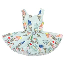 ice cream suits 2020 - Sleeveless Princess Kids Baby Girls Floral Tutu Dress Romper Ice cream Jumpsuit Outfits Suit cheap ice cream suits