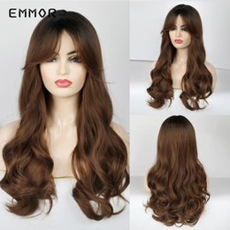 Discount long wigs side bangs Emmor Long Synthetic Natural Wavy Wigs with Side Bangs For Women Heat Resistant Hair Wigs for Cosplay Party