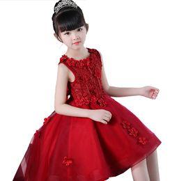 759a9be90 Vestido de niña de flores Rojo Blanco Rosa Puffy Vestido de fiesta de boda  Chica Primera Comunión Eucaristía Asistió Princesa Encaje Vestido de noche