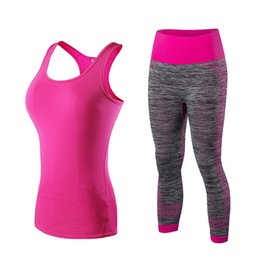 Chinese  Yel Hot Logo Custom Running Set Vest Pants Sport Suit Fitness Tights Top Jogging Suits For Women Gym Tracksuit Yoga Sportswear #74107 manufacturers