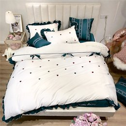$enCountryForm.capitalKeyWord Australia - 1904019 New arrival 60 long cotton emeraldcotton love embroidery lotus leaf side teen bed products king size bedding set