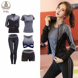 $enCountryForm.capitalKeyWord Australia - New Patchwork Women 2 3 4 5 Pcs Set Yoga Fitness Gym Coats bra t Shirt shorts pants Quick Dry Outdoor Sports Clothing Suit Sets