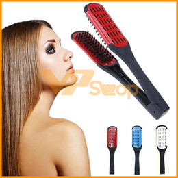 Discount v shaped hair - Hair Straightener V Shape Hair Straightening Comb Iron Double Brushes Not Hurt Hair Styling Combs
