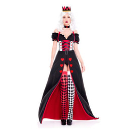 Wholesale queen hearts cosplay costume resale online - Red Heart Queen Cosplay Dress Women Halloween Carnival Party Costume Sexy Poker Pattern Dress Nightclub Stage Princess Uniform