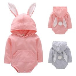 Discount baby rabbit jumpsuit - INS Baby Rabbit Romper Hooded Bunny Ear Easter Jumpsuits Long Sleeves Cartoon Toddler Rompers 2 colors MMA1394