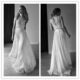 Natural Coral Beads Australia - Lihi-hod 2019 Wedding Dresses Two Pieces Backless Lace Beads Crystals Floor Length Custom Made Boho Bridal Gowns Beach Wedding Dress