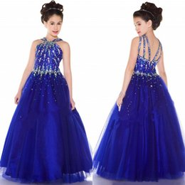 Wholesale 2019 Hot Sale Tulle Royal Blue Princess Girl s Pageant Dresses with Beaded Rhinestone Backless Flower Girls Dress Party