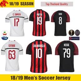 18 19 AC Milan Soccer Jersey CUTRONE 2018 2019 PAQUETA AC Milan CALHANOGLU  Jersey KESSIE SUSO Football Shirt PIATEK C.ZAPATA Soccer Shirt 363594731