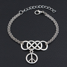 $enCountryForm.capitalKeyWord Australia - Double Infinity Love Round Hollow Peace Sign Symbol Pendants Adjustable Men Women Bracelets Bangles Link Chain Wristband Accessories Jewelry