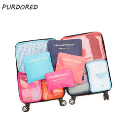 travel cube set NZ - PURDORED 6 pcs set Nylon Packing Cube Travel Bag System Durable Large Capacity Of Bags Unisex Clothing Sorting Dropshipping