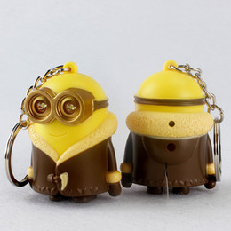 minion key chains wholesale NZ - Cartoon Movie 3D Despicable Me Led Keyrings The Thor Minions Cosplay Funny Kids Toys Keyring LED Lights Car Key Chains Pendant Trinkets