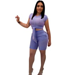 pants jumpsuits for women cotton Canada - Yoga Workout 2 Piece Outfits for Women Sexy Tracksuit Sports Suit Two Piece Sets Tie Front Crop Top Short Skinny Pants Jumpsuits
