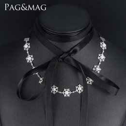 $enCountryForm.capitalKeyWord NZ - PAG&MAG Brand New Hot Sale Bohemia Style Black or Cream-colored Ribbon Natural Pearl Necklaces For Girls Gift Jewelry