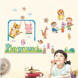 Cartoon Retail Australia - Retail 90*60cm animal park wallpaper children's room kindergarten cartoon decoration stickers