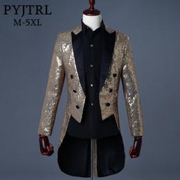 $enCountryForm.capitalKeyWord Australia - PYJTRL 2018 Men Gold Silver Red Blue Black Sequin Slim Fit Tailcoat Stage Singer Prom Dresses Costume Wedding Groom Suit Jacket