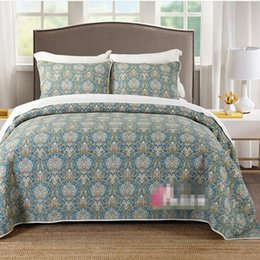 $enCountryForm.capitalKeyWord Australia - Free shipping retro bohemian style floral pure cotton washing printing 3pcs patchwork quilt full queen size bed cover bedspread