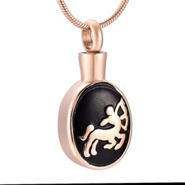 sagittarius chain NZ - IJD9909 Rose Gold Sagittarius Design Stainless Steel Cremation Memorial Pendant for Ashes Urn Keepsake Souvenir Necklace Men Gift Jewelry