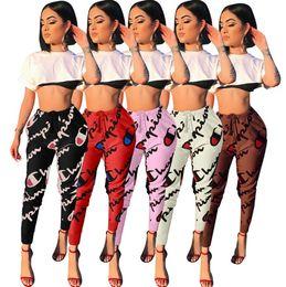 $enCountryForm.capitalKeyWord Australia - Womens sexy pants letter printed Trousers Casual sports Pants Womens Sexy Leggings Letter Printed Sport Girl Skinny Pants klw0350