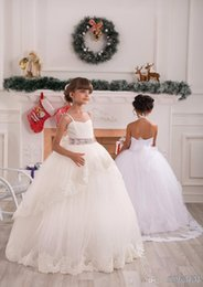 $enCountryForm.capitalKeyWord Australia - Kids Lace Appliques Sleeveless Spaghetti Straps Belt Floor Length Ruffle Tulle Ball Gowns Holy Communion Kids Gowns 2-14 Years