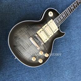 Venta al por mayor de Custom Shop CG Ace Frehley 'Budokan' Custom Vintage Gris Oscuro Guitarra Eléctrica 3 Pastillas Aligeramiento MOP Diapasón Incrustación logo FACE Headstock logo