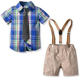 $enCountryForm.capitalKeyWord UK - Summer new Boys Suits Fashion Boys Clothing Sets necktie shirts+suspender trousers Kids Sets kids designer clothes boys Suits A5356