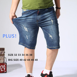 Size 46 Clothes Australia - Jeans Shorts Men Ripped Denim Mens Short Cropped Jean Homme Uomo Man Summer Thin Clothes Pants Plus Size 40 42 44 46 48 Trousers