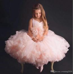 Blush Ruffle Wedding Dresses Australia - Blush Pink Girl's Pageant Dresses Lace Flowers Puffy Ruffles Organza Skirt Wedding Flower Girls' Ball Gowns
