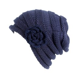 Skull Stereo UK - Ladies'pleated wool cap temperament elegant side stereo flower ear protector long cylinder cap leisure outdoor warmth preservation